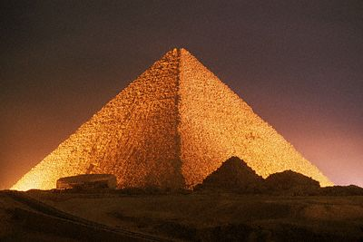 ca. 2525 B.C., Giza, Egypt --- Pyramid of Cheops at Night --- Image by © Roger Ressmeyer/Corbis