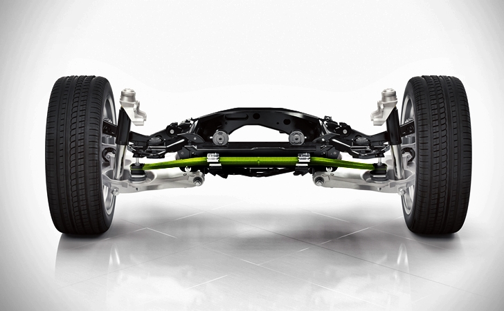 The all-new XC90 has a completely new chassis, front and rear, including a new integral rear link axle. The rear axle features a new transverse leaf spring, made of lightweight composite material.