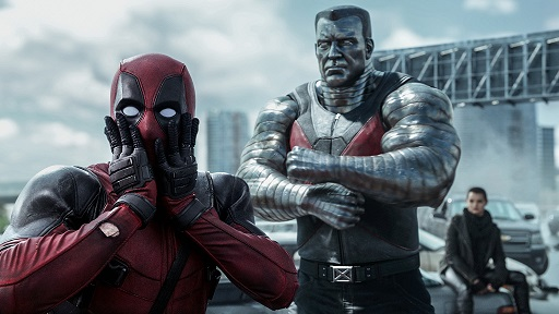 Deadpool (Ryan Reynolds) reacts to Colossus' (voiced by Stefan Kapicic) threats.