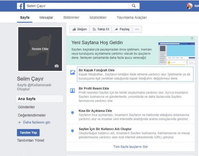 facebookta sayfa açmak-öneriler